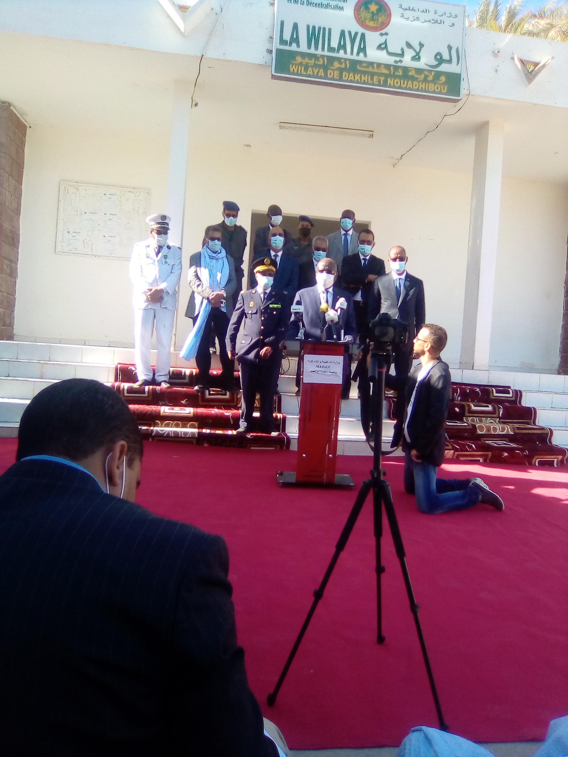 وزير الداخلية واللامركزية يعقد مؤتمرا صحفيا بمدينة نواذيبو