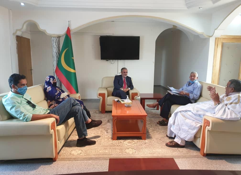رئيس سلطة منطقة نواذيبو الحرة يستقبل  رئيس مكتب اتحادية السياحة بنواذيبو وأبرز أعوانه